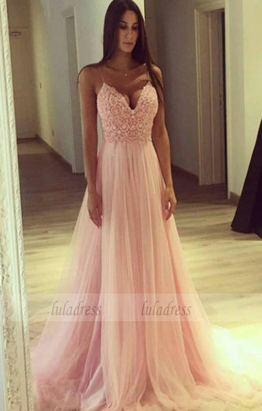 A line Tulle Party Dress,Spaghetti Straps Blush Pink Tulle Evening Dress,BD99472