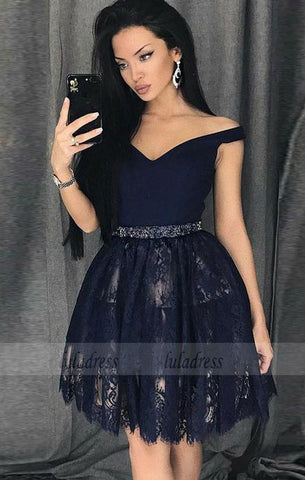 A-Line Off-the-Shoulder Above-Knee Lace Homecoming Dress with Beading,BD99513