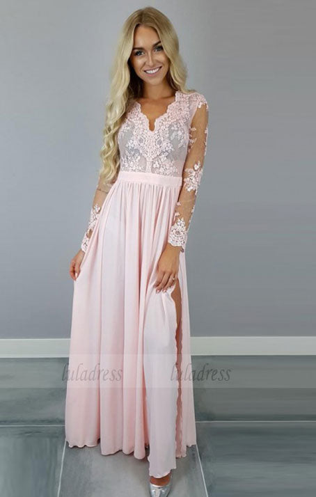 A-Line V-Neck Long Sleeves Pink Chiffon Prom Dress with Appliques,BD99815