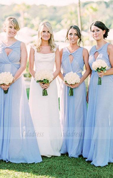 A-Line V-Neck Keyhole  Chiffon Bridesmaid Dress,BD99850