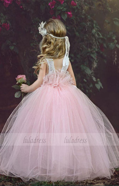 New Cute Handmade Flowers Lace Back Girls Pageant Dresses For Weddings,BD99398
