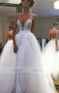 Sexy Deep V-neck Floor-Length Wedding Dress Backless with Lace,BD99587