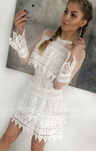Sheath Crew Long Sleeves Short White Lace Homecoming Dress,BD99486