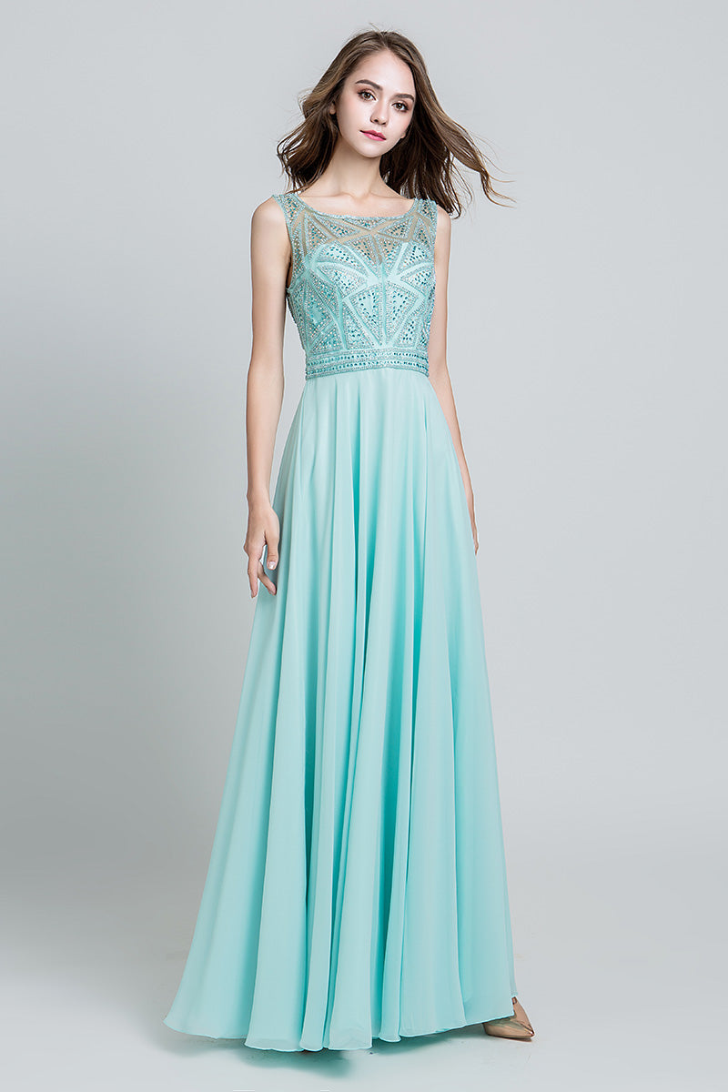 Chiffon Long Beaded Top Prom Dress, LX486