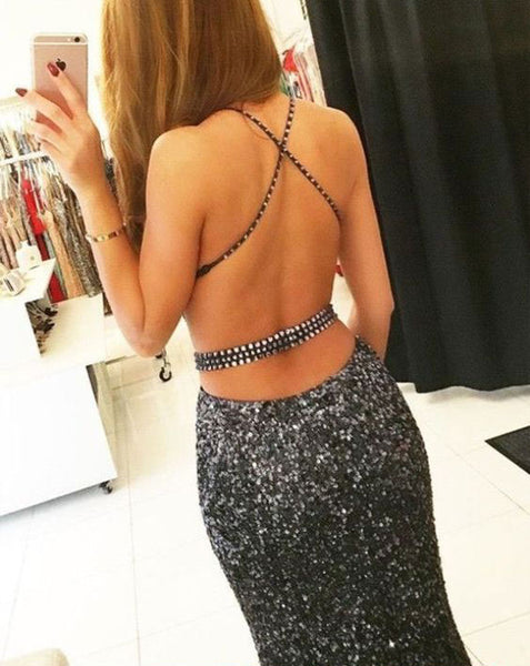 Sexy Cross Back Luxury Beaded Mermaid Prom Dress BD98021