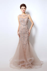 Champagne Mermaid Long Prom Dresses Formal Evening Dress, BS01