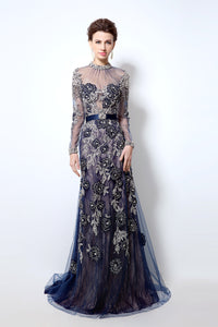 Navy Long Sleeves Formal Prom Dresses Long Evening Dress, BS02