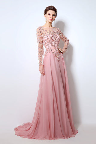 Pink Long Sleeves Chiffon Evening Dress Beaded Charming Prom Dress, BS06