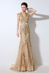 Gold Luxury Beaded Evening Dress V-neck Formal Charming Prom Dress, BS07