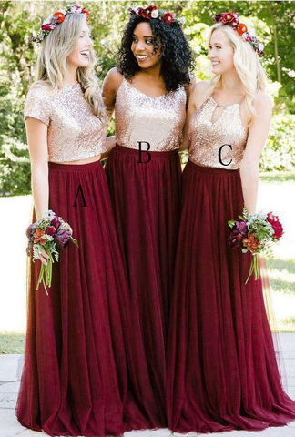 Mismatched Burgundy Sequin Top Long Bridesmaid Dress,BD1005