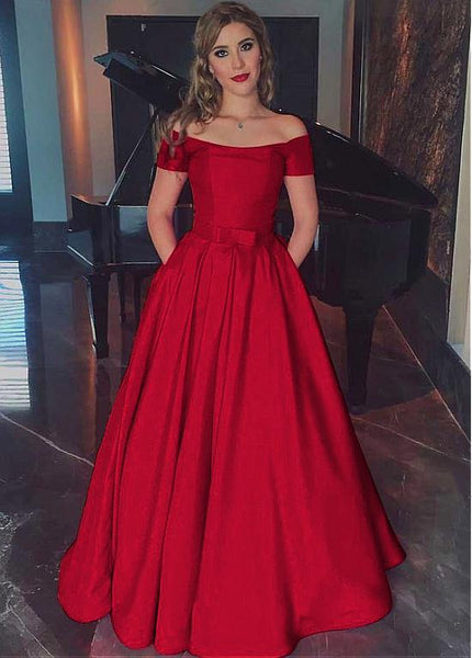 A Line Off Shoulder Prom Dress, Red Satin Pageant Dress,BD99952