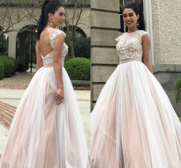 Applique Cap Sleeve Evening Dresses,Prom Dresses,Appliques Lace Long Dress,BD99955