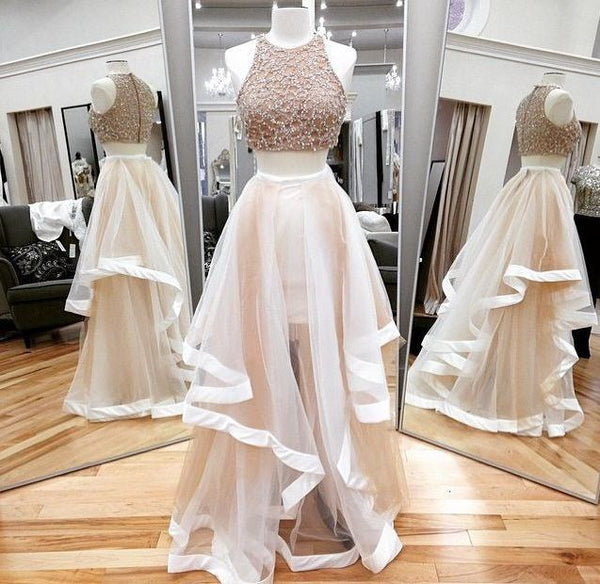 Beaded Prom Dress,Illusion Prom Dress,Two Pieces Prom Dress,BD99969