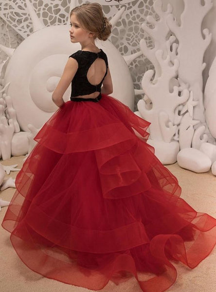 Black Lace Red Ruffle Tulle Cute Kids Flower Girl Dress,BW97461