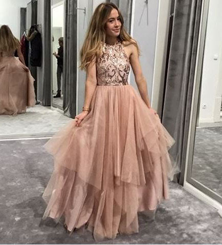 A-Line Asymmetrical Blush Prom Dress with Sequin,BW97489