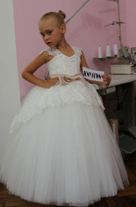 Flower Girl Dress, Beautiful White Lace Appliques Bow Belt Tulle Flower Girl Dress Pageant Dresses For Girls Glitz,BD98843