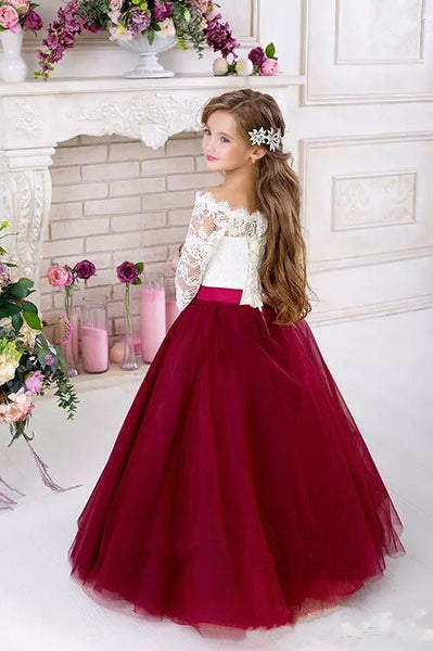 Half Sleeves Tulle Flower Girl Dresses Vintage Flower Girl Wedding Dresses Kids Pageant Dresses,BD98864