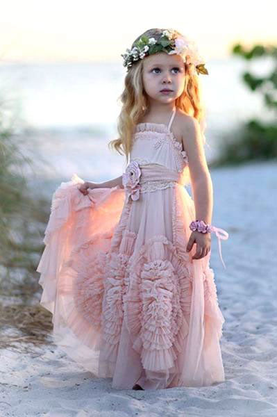Blush Modern Flower Girl Dress, Children Party Dress,Girl Dress,Kids Dress,BD98813