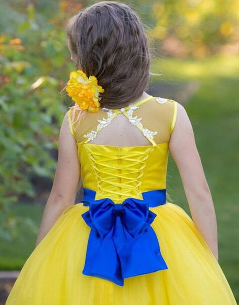 Yellow Flower Girl Dress Royal Blue Lace Girl Dress,BW97463