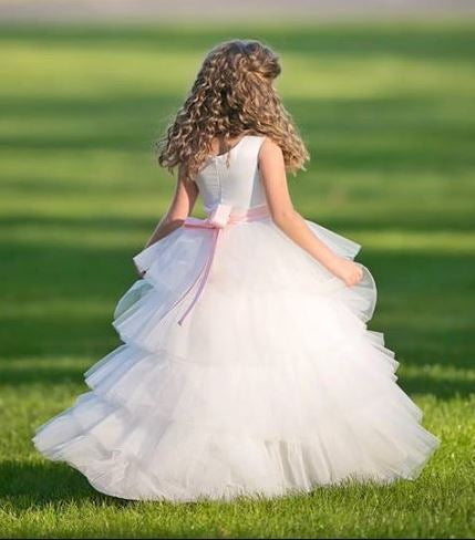 Satin and Tulle Flower girl dress with made to match rhinestone belt,BD98851