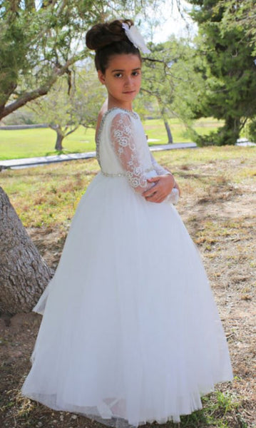 Princess Long Sleeves Backless Flower Girl Dresses Lace Beads Kids First Communion Dress Girls Pageant Birthday Party Dresses,BD98848