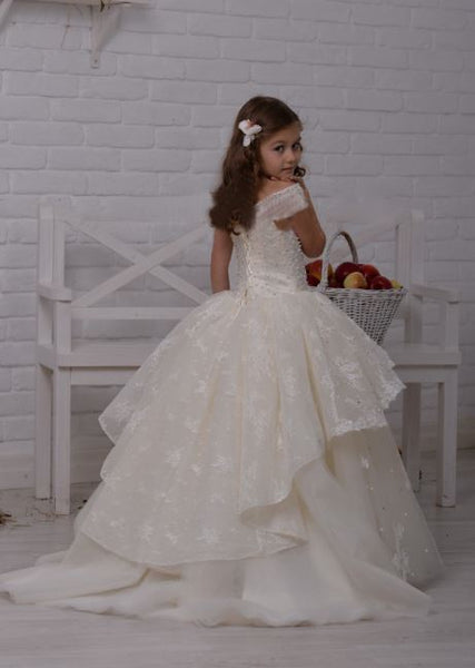 Flower girl dress,Princess Beads Lace Appliques Ball Gown Flower Girl Dresses Scoop Little Girl Birthday Party Gowns ,BD98821