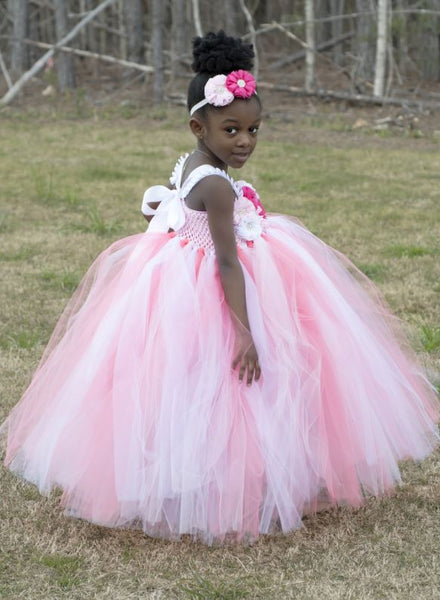Flower Girl Dress, White and Pink Tutu Dress, BW97560