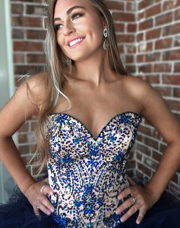 Ball Sweetheart Navy Blue Prom Dress with Sequins,BW97544