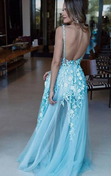 Spaghetti Straps Blue Long Prom Dress Appliques Evening Gowns Backless, BW97620