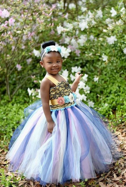 Blue Flower Girl Dress, Tutu Dress, BW97561