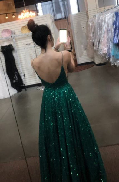 A Line V Neck Spaghetti Straps Backless Dark Green Prom Dresses, BW97595