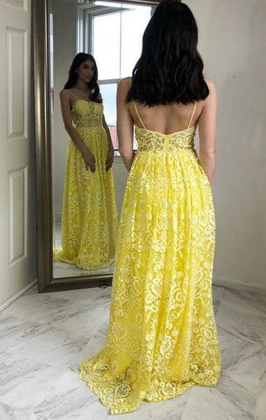 Yellow Lace Prom Dresses Spaghetti Straps Long Evening Party Dresses, BW97619