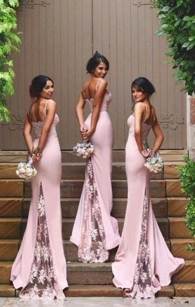 Gorgeous Spaghetti Straps Mermaid Lace Backless Long Bridesmaid Dress, BW97690