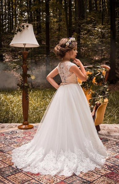 Chic Tulle Jewel Neckline Cap Sleeves A-line Flower Girl Dresses With Beaded Lace Appliques & Belt, BW97700