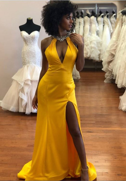 Sexy Backless Yellow Mermaid Prom Dresses, BW97623