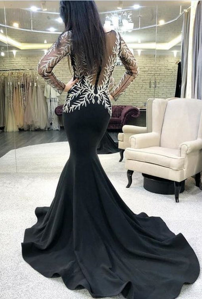 Jewel Black Prom Dresses Long Sleeves Appliques Mermaid Evening Gowns, BW97617
