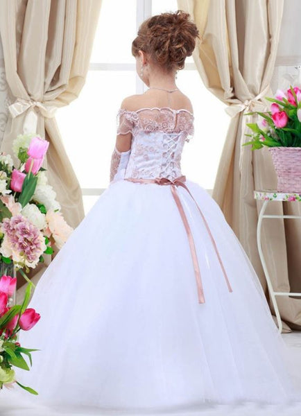 Fluffy White Lace Appliques Girl Dresses Ball gown Sheer Neck Flower Girl Dress, BW97740