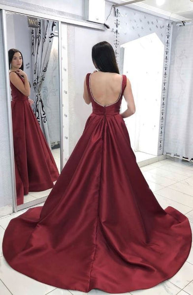 Burgundy V Neck Satin Long Prom Dress,Burgundy Satin Evening Dress,BW97518