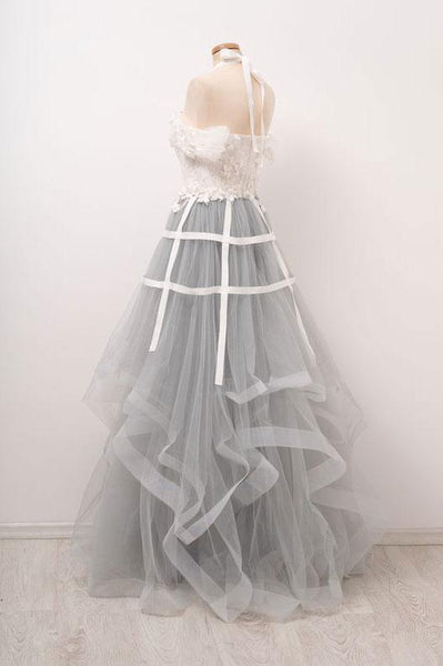 Unique Gray Tulle Lace Applique Long Prom Dress, Tulle  Evening Dress,BD98026