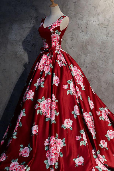 Red V-neck Satin Long Prom Dress, Red  Evening Dress,BD98025