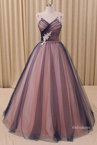 Simple Tulle V-neck  Long Prom Dress, Tulle  Evening Dress,BD98027