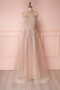 Unique V-neck Tulle Lace Applique Long Prom Dress, Tulle  Evening Dress,BD98023