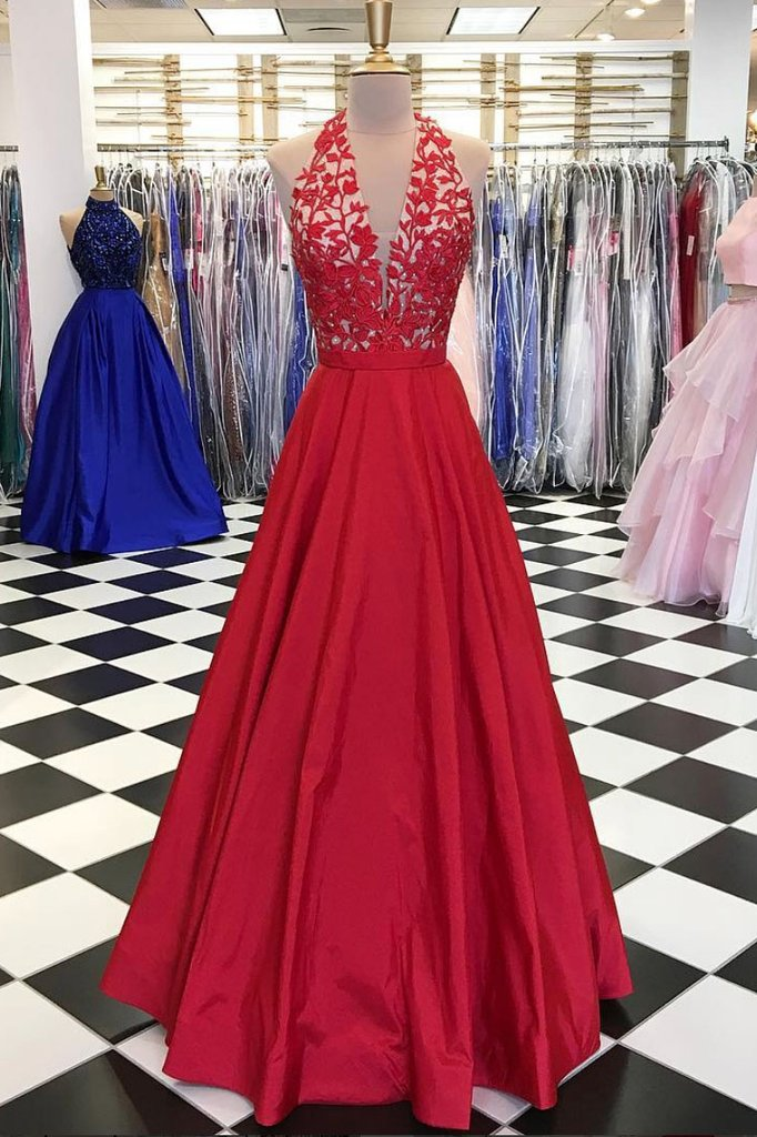 Red V-neck Tulle Lace Applique Long Prom Dress, Red  Evening Dress,BD98024