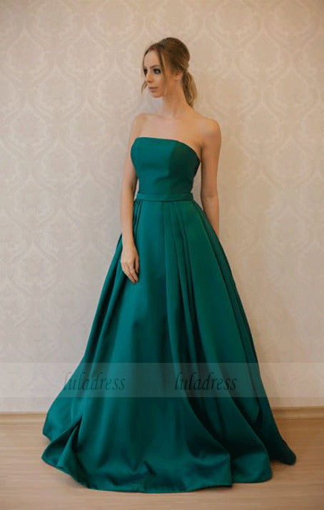 Long A-line Evening Dresses Strapless Formal Party Gowns,BD99722