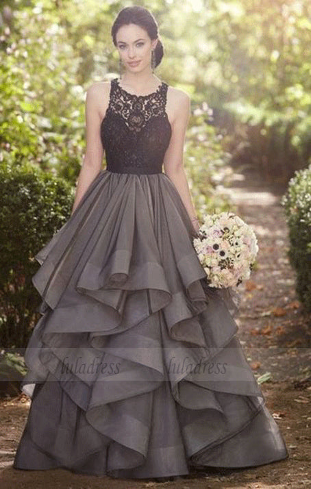 sexy long prom dresses,Beautiful grey lace organza prom dress,ball gown formal dress,BD99715