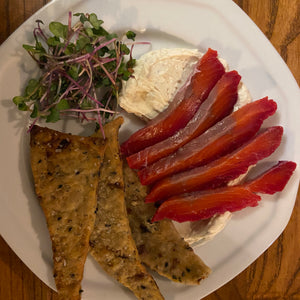 Salmon gravlax with cream cheese mouse and beetroot