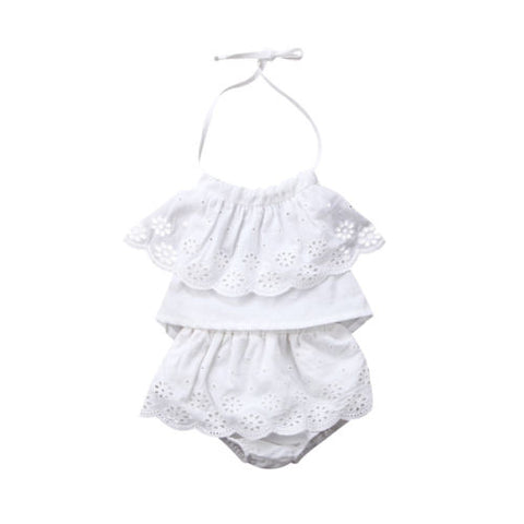 b10587bfe0a White Lace Outfit 2PCS Newborn Baby Girls Lace Sleeveless Top and Shorts -  Precious Stork