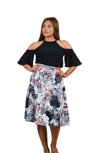 OFF SHOULDER WITH FLORAL SKIRT