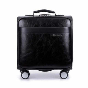 16 inch Business Casual Men's Caster Oil Skin Rolling Luggage-Accessories-Wireless Jack