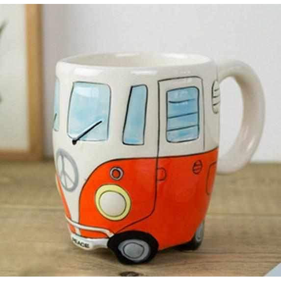 Cartoon Double Decker Bus Hand Painting Retro Ceramic Coffee Mug-Mugs-Wireless Jack